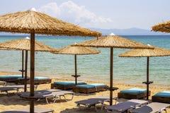 Praia de Ammolofoi, região de Kavala, Grécia do norte imagem de stock royalty free