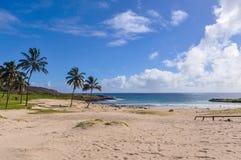 A praia de Anakena na Ilha de Páscoa, o Chile imagens de stock royalty free