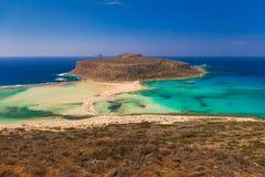 Praia de Balos e lagoa, prefeitura de Chania, Creta ocidental, Grécia Fotos de Stock