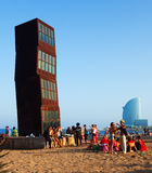 Praia de Barceloneta na noite Barcelona Imagens de Stock Royalty Free