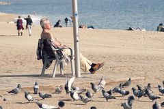Praia de Barcelonetta na queda Foto de Stock Royalty Free