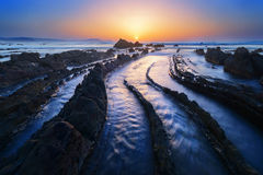 Praia de Barrika no por do sol Fotos de Stock Royalty Free