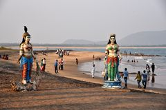 Praia de Bhimili em Vishakhpatnam Fotografia de Stock Royalty Free