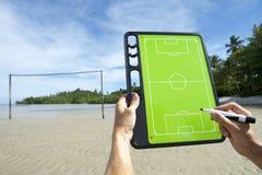 Praia de Brasil da placa das táticas do futebol do futebol Imagens de Stock Royalty Free