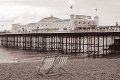 Praia de Brigghton do vintage, Inglaterra Fotos de Stock