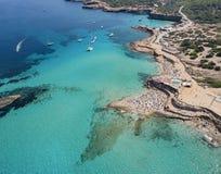 Praia de Cala Conta, Ibiza, Espanha fotos de stock royalty free