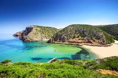 Praia de Cala Domestica, Costa Verde, Sardinia, Itália fotos de stock