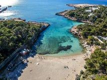 Praia de Cala Gracio, Ibiza, Espanha imagem de stock royalty free