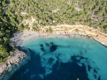 Praia de Cala Saladeta, Ibiza spain fotografia de stock