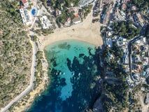 Praia de Cala Vedella, Ibiza, Espanha fotos de stock