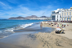 Praia de Canteras na Espanha de Gran Canaria Foto de Stock Royalty Free