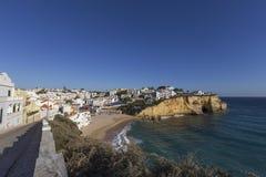 Praia de Carvoeiro,阿尔加威,葡萄牙 库存照片