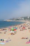 Praia de Caxias em Caxias, Portugal fotografia de stock