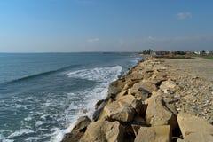 Praia de Chipre no inverno Fotografia de Stock