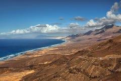 Praia de Cofete da vista panorâmica, Fuerteventura, Ilhas Canárias, Espanha Fotografia de Stock