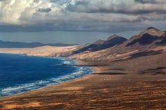 Praia de Cofete da vista panorâmica, Fuerteventura, Ilhas Canárias, Espanha Foto de Stock