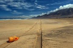 Praia de Cofete nas Ilhas Canárias de Fuerteventura Imagens de Stock
