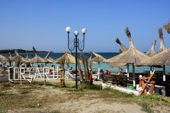 Praia de Corsaru em Vama Veche, Romênia foto de stock