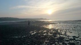 Praia de Doniford no inverno Imagens de Stock