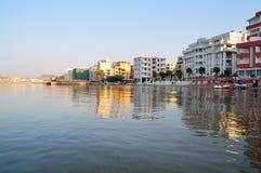 A praia de Durres, Albânia Foto de Stock