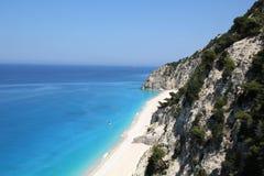 Praia de Egremni, ilha de Lefkada imagens de stock