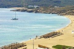Praia de Elia, Mykonos, Grécia Imagens de Stock