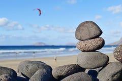 Praia de Famara em Lanzarote, Ilhas Canárias, Espanha Foto de Stock Royalty Free