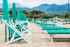 Praia de Forte dei Marmi, Toscânia, Itália Fotografia de Stock