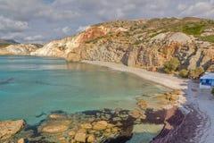 Praia de Fyriplaka, Milos, Greece Imagem de Stock