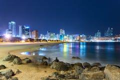 Praia de Haeundae na noite Imagens de Stock Royalty Free