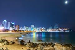 Praia de Haeundae na noite Foto de Stock Royalty Free
