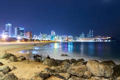 Praia de Haeundae na noite Fotos de Stock Royalty Free