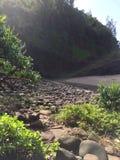 Praia de Hanakapiai na costa do Na Pali na ilha de Kauai, Havaí - fuga de Kalalau Imagem de Stock Royalty Free