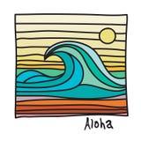 Praia de Havaí, cartaz do surfista ilustração do vetor
