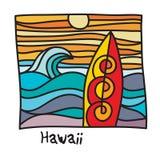 Praia de Havaí, cartaz do surfista ilustração stock