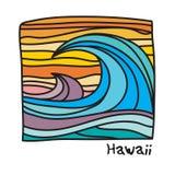 Praia de Havaí, cartaz do surfista ilustração royalty free
