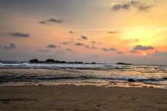 Praia de Hikkaduwa, Sri Lanka Fotografia de Stock Royalty Free