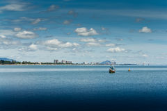 Praia de Hua- Hin. e barco, Fotografia de Stock