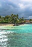 A praia de Kailua, Kona, Havaí Foto de Stock Royalty Free