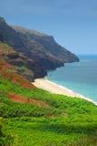 Praia de Kalalau, costa do Na Pali imagem de stock
