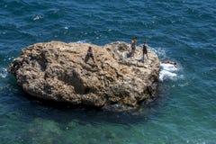 Praia de Konyaalti Plaji em Antalya em Turquia Foto de Stock Royalty Free