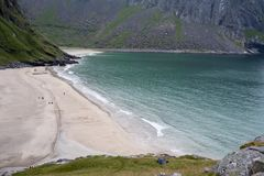 Praia de Kvalvika, Lofoten, Noruega Imagens de Stock Royalty Free