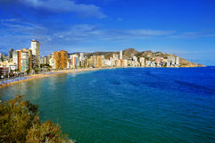 Praia de Levante, em Benidorm, Espanha Imagem de Stock