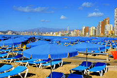 Praia de Levante, em Benidorm, Espanha Foto de Stock Royalty Free