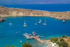 Praia de Lindos em Rhodes Island Rodos Aegean Region, Grécia fotos de stock royalty free