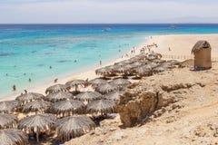 Praia de Mahmya na ilha no Mar Vermelho, Egito Fotografia de Stock
