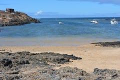 Praia de Majanicho da paisagem na Espanha das Ilhas Canárias de Fuerteventura Fotos de Stock Royalty Free