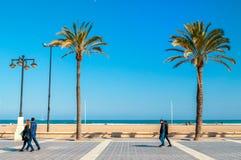 Praia de Malvarrosa, Valência, Espanha Imagens de Stock