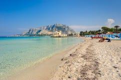 Praia de Mondello Foto de Stock Royalty Free