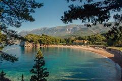 Praia de Montenegro na costa de mar do adriático Foto de Stock Royalty Free